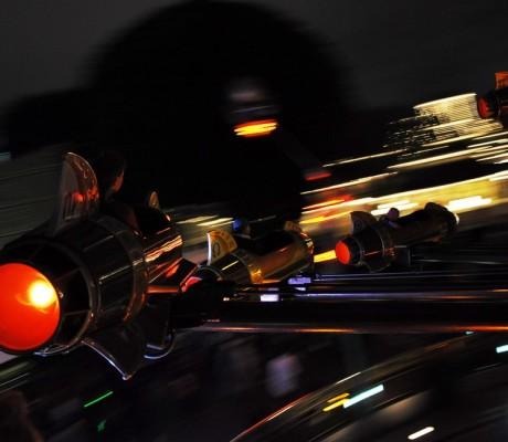 Astro Orbiter at Night in Disneyland